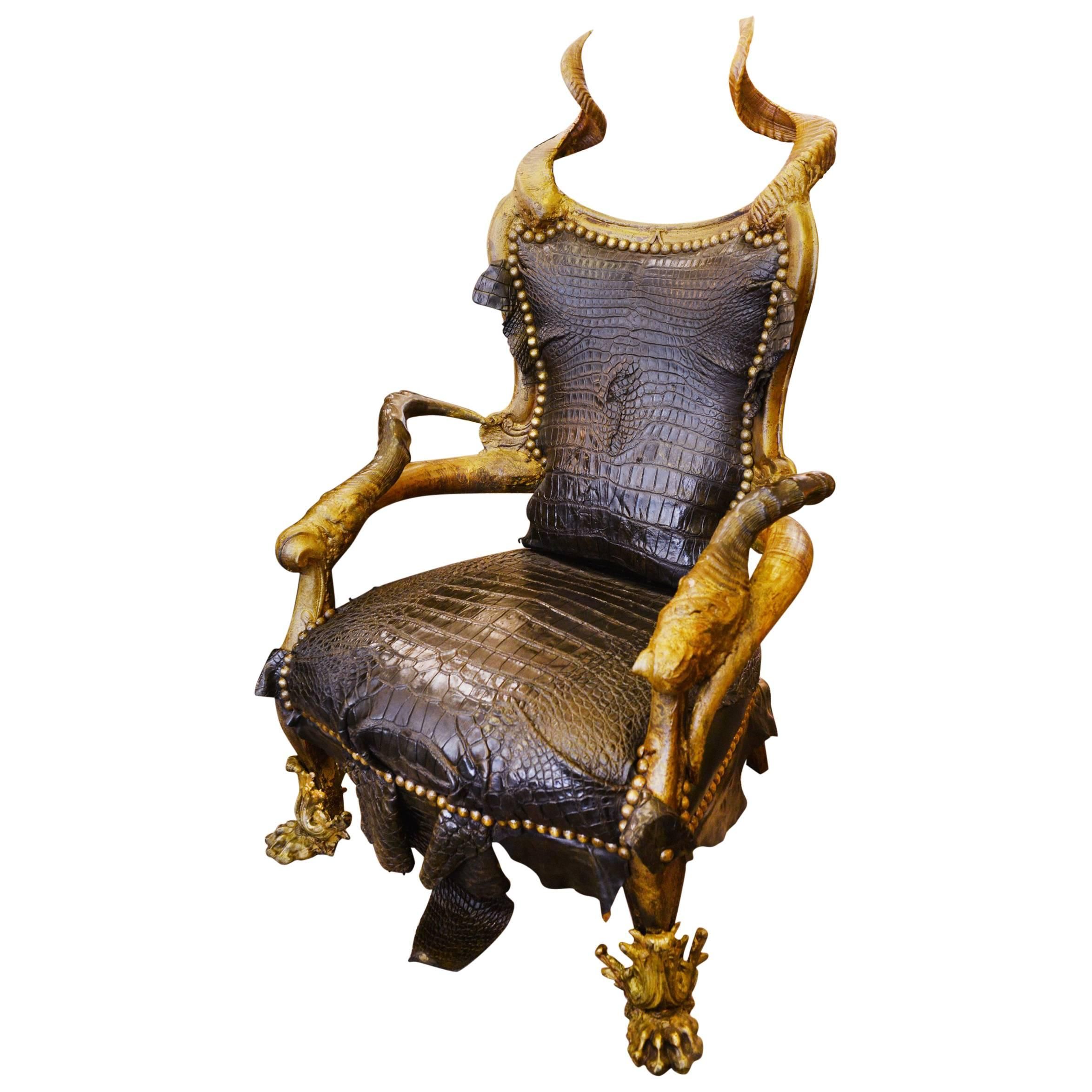 Black Croco Armchair With Alligator Skin And Real Horns For Sale
