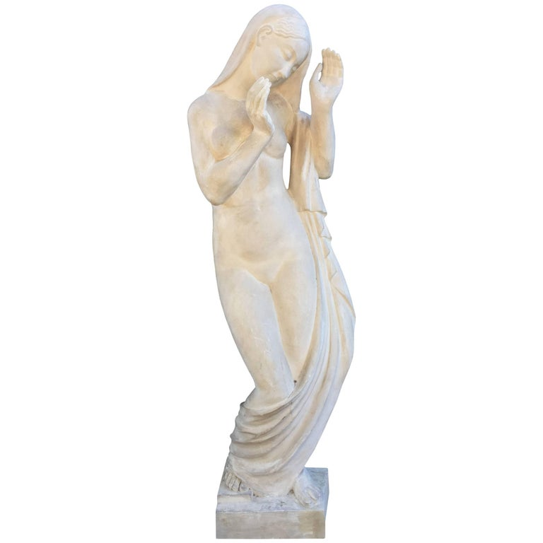 Art Deco High Plaster Sculpture, Monogrammed H.K