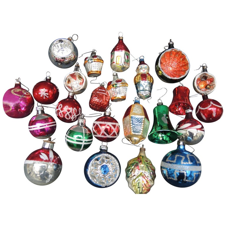 Vintage Collection of 28 Glass Christmas Ornaments 1