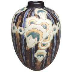Charles Catteau Art Deco Stoneware Vase with Flowers Design