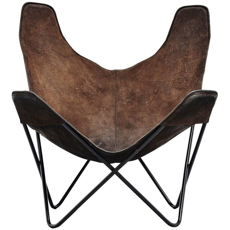 jorge hardoy ferrari butterfly chair brown for knoll 1970. Black Bedroom Furniture Sets. Home Design Ideas