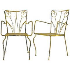 "Set of Four ""Tulip"" Motif Painted Iron Chairs, France, circa 1950s"