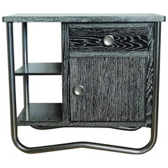 Bauhaus Art Deco Side Table Cabinet Cerused Oak Black and White Chrome