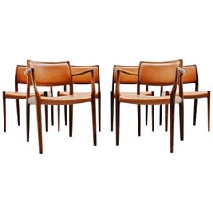 Niels Møller Dining Chairs Model 80 Rosewood, Denmark, 1966