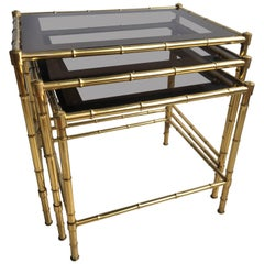 Nest of Vintage French Faux Bamboo Brass Tables
