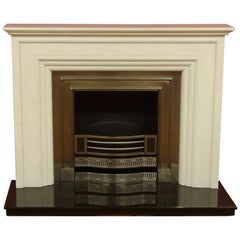 21st Century Carved Marble Fire Surround Polished Iron Insert Granite Hearth