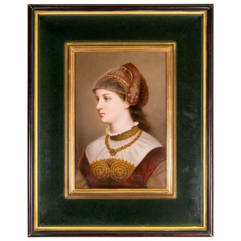 Late 19th Century KPM Hand-Painted Portrait Plaque