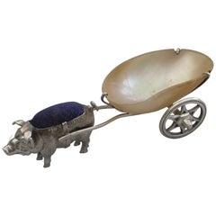 Edwardian Novelty Antique Silver Pig Pulling a Cart Pin Cushion Sydney & Co