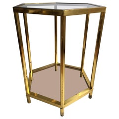 Vintage French Hexagon Brass Centre Table