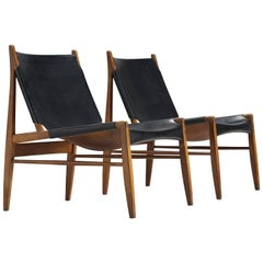 Pair of Hunting Chairs by Franz Xaver Lutz in Original Black Leather