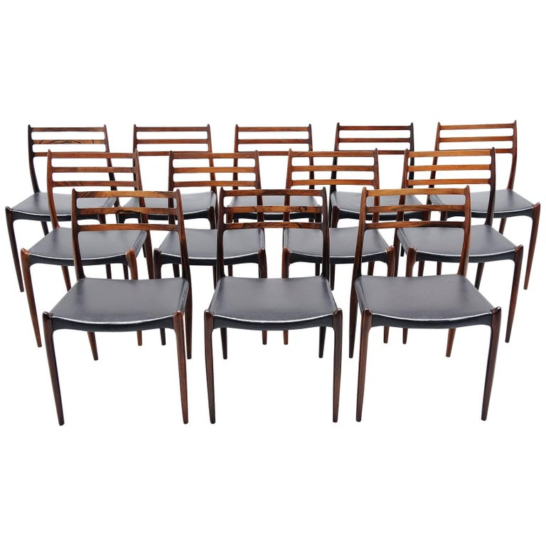 Niels Moller Model 78 Dining Chairs in Rosewood Denmark, 1962