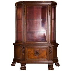 19th Century Antique Cabinet with Lions Feet Renaissance Revival