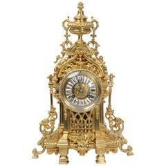 Antique French Gilt Bronze Boudoir Clock by A. D. Mougin