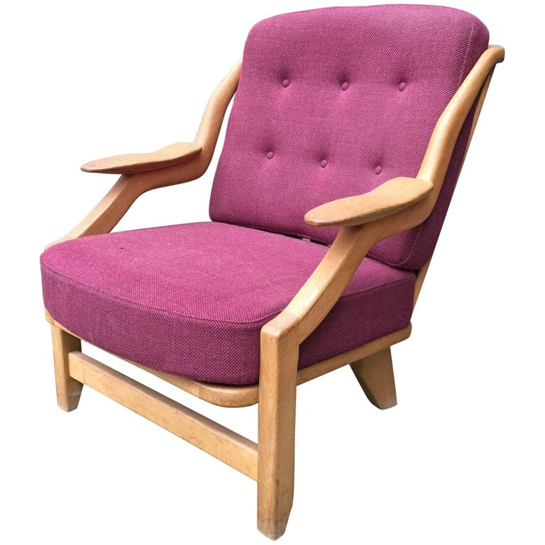 Guillerme & Chambron Oak Easy Chair, with Original Fabric