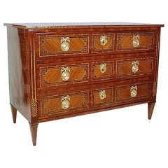 German 18th Century Neoclassical Marquetry Commode, circa 1780