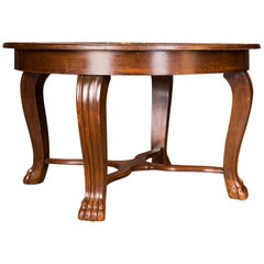 19th Century Extendable Dining Table with Paws, Neo Renaissance Period
