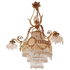 French Chandelier in Louis XVI Style, Gilt Bronze and Crystal