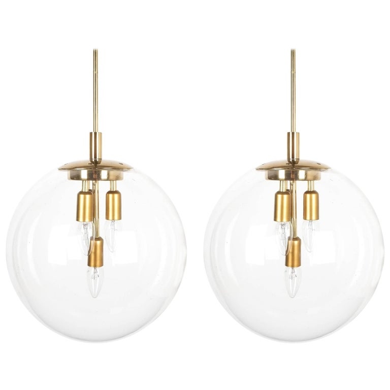 Doria Globe Pendant Lamps Large Pair of Brass Clear Glass Lights, Germany, 1970