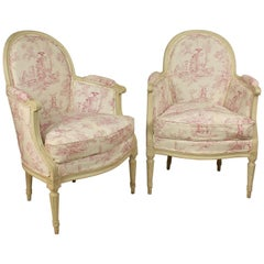 Pair of Louis XVI Armchairs with Antique Toile de Jouy, Attributed to JC Briois