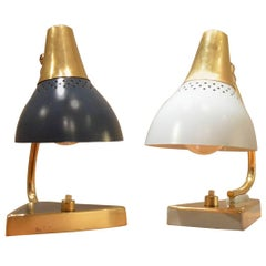 Pair of Midcentury Design Painted Metal and Brass Bedside Table Lamps