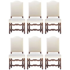 Six French Dining Chairs Os de Mouton Upholstered to Antique Metis or Recover