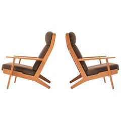 GE-290 / Pair of Highback Lounge Chairs in Teak by Hans J. Wegner