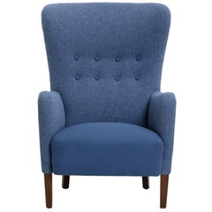 Danish Produced Wingback Chair, 1940s, Blue Wool Upholstery by Kvadrat