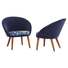 Pair of Cocktail Chairs, 1950s Floral Upholstery by Josef Franck