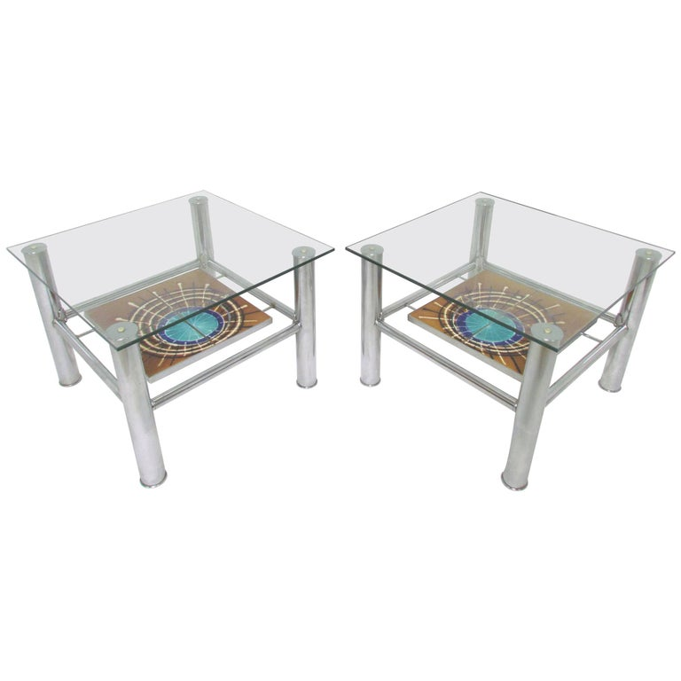 Pair of Mid-Century Modern Ceramic Tile and Chrome End Tables, circa 1970s