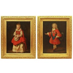 Pair of 18th Century Children's Portraits of 'Magdalena De Vos' and 'Louis XV'
