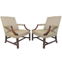 Pair of Baker Furniture George III Style Gainsborough Library Chairs