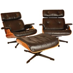 Pair of Ray and Charles Eames Style Lounge Chair with One Ottoman