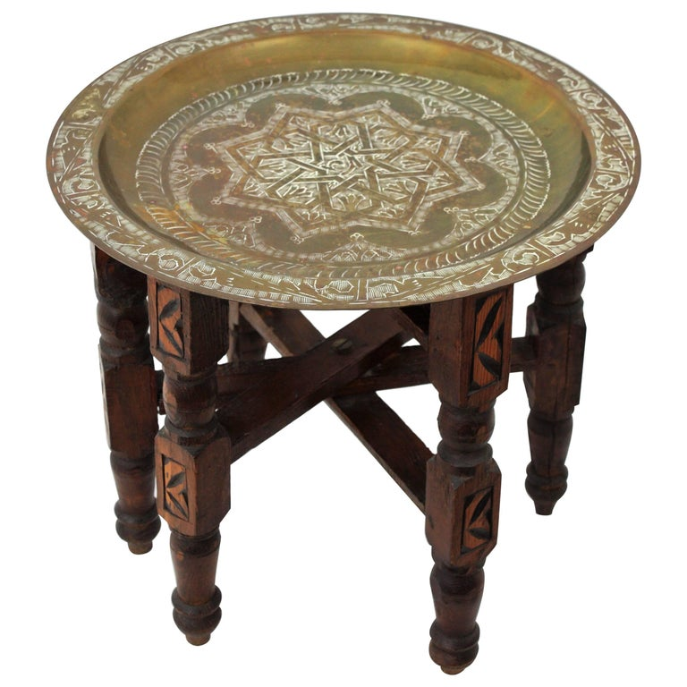 Unusual Traditional Moroccan Brass and Wood Miniature Tray Table, Morocco, 1950s