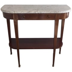 Mahogany & Brass Neoclassical Console Table with White Marble Top, Signed Brault