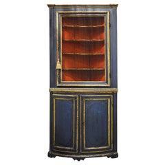Charming 18th Century Italian Late Baroque Paint Amp Gilt Mesh Door Corner Cabinet