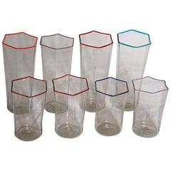 Eight Hexagonal Pagliesco Glasses, Multicolored Rim, Carlo Scarpa 1932 Design