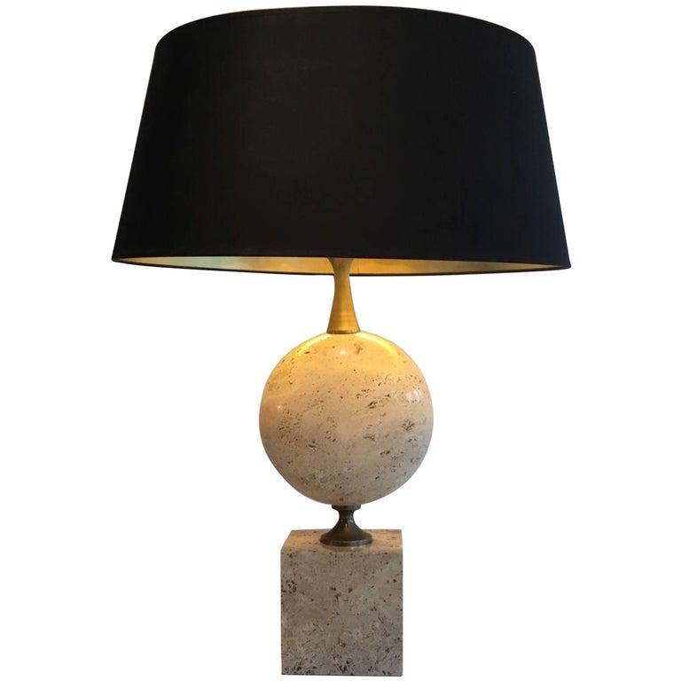 Tall Philippe Barbier Travertine Lamp