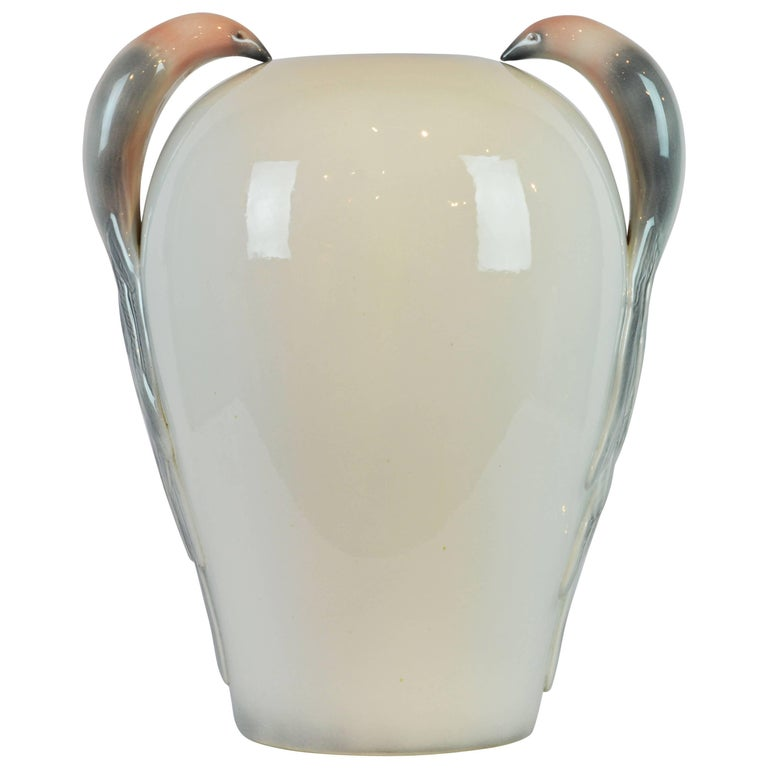 Large Italian Art Deco Style Ceramic Floor Vase with Bird of Paradise Handles For Sale