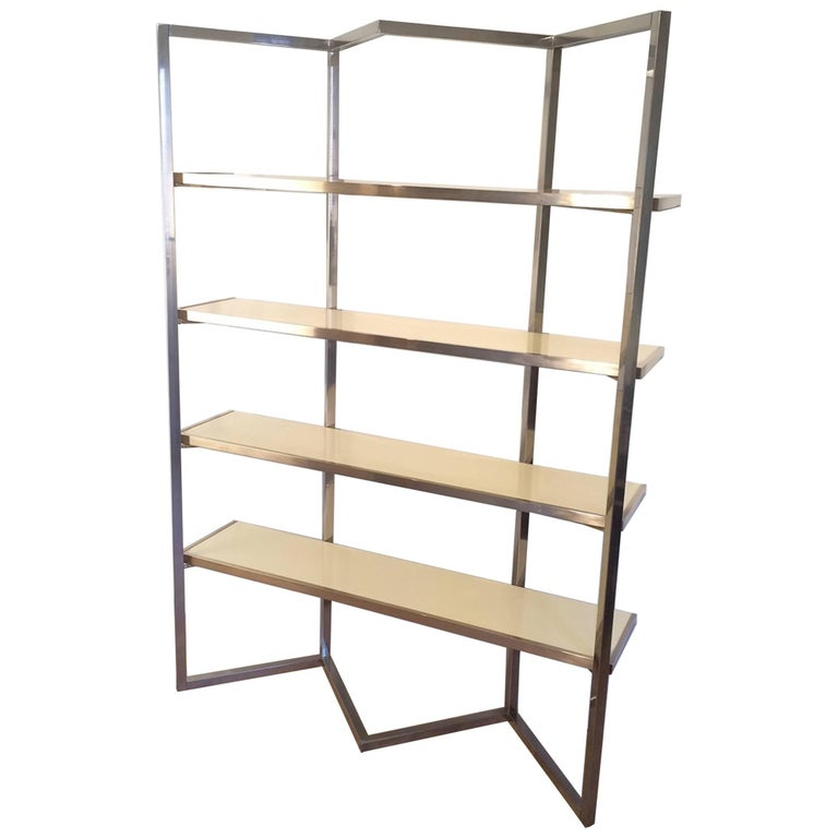 Chrome and Egg Shell Lacquered Etagere