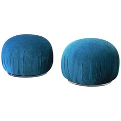 Pair of Turquoise Pouf Ottomans with Lucite Bases, 1980s