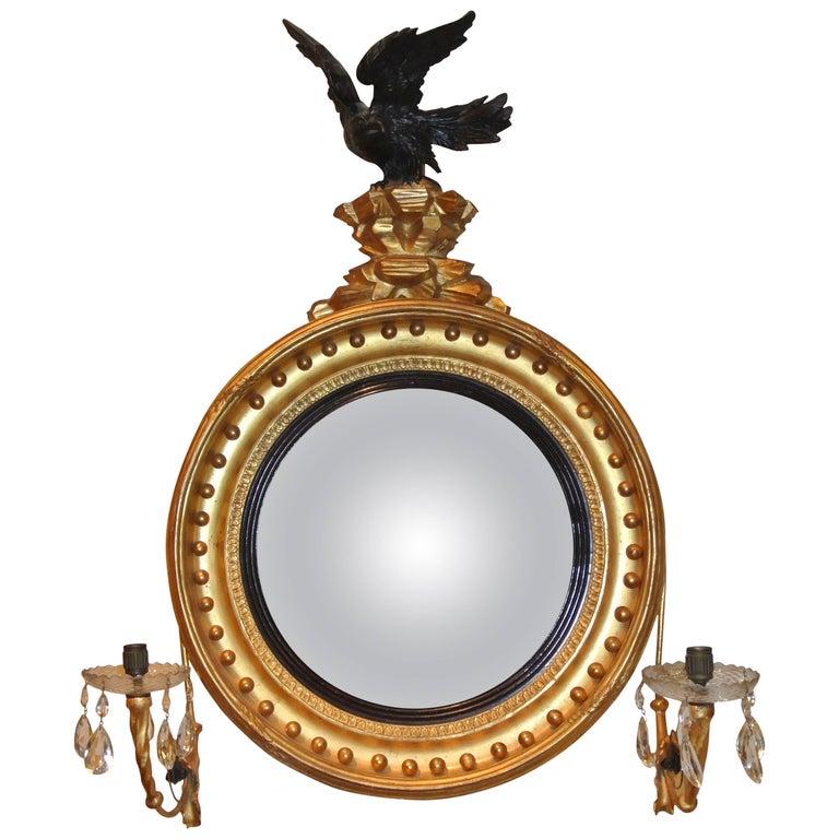 Regency Giltwood Convex Bullseye Mirror with Eagle
