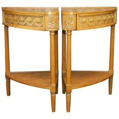 Pair of Louis XVI Style Carved Corner Tables