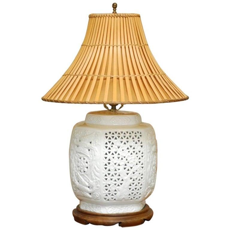 Mid-Century Blanc de Chine Porcelain Vase Table Lamp