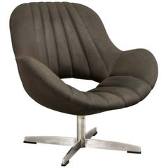 Attractive Chocolate Brown Leatherette Lounge Chair Designed for Rohé, 1960s