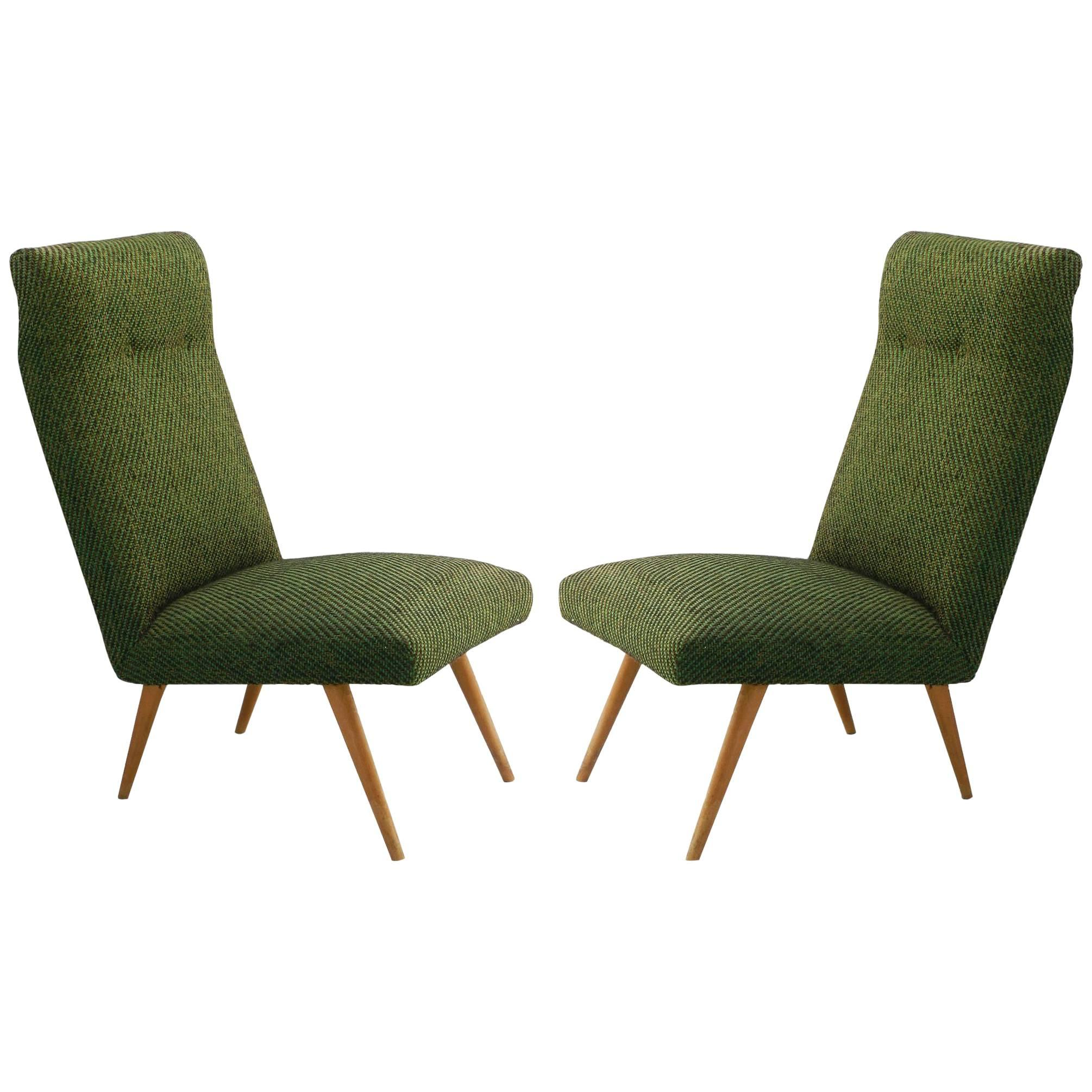 Pair of Midcentury Chairs Guariche Style French Upholstered, 1950s