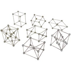 Set of Seven Different Scientific Crystal Molecular Models from the 1950s
