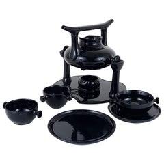Luigi Colani Zen Tea Set and Plates, Stoneware, Friesland, Germany, 1970s
