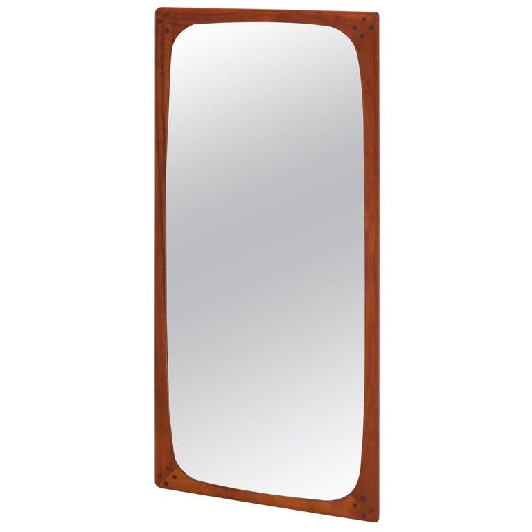 Teak Danish Mid Century Modern Large Wall Mirror 1960s For