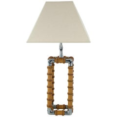 Midcentury Faux Bamboo French Table Lamp with Fabric Shade