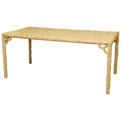 French Faux Bois Carved Dining Table